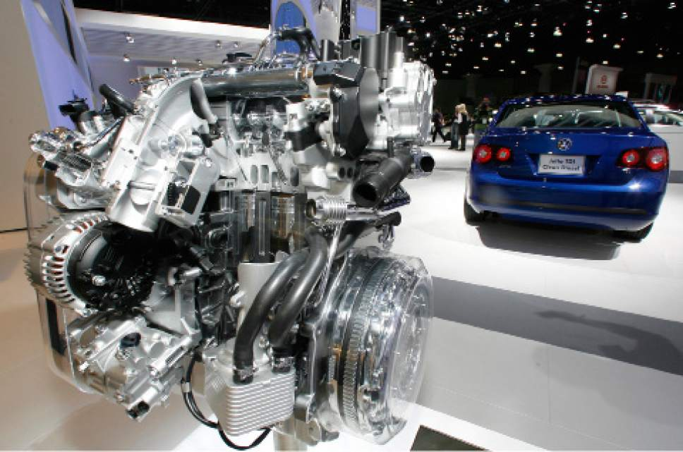 FILE - In this Nov. 20, 2008, file photo a Volkswagen Jetta TDI diesel engine is displayed at the Los Angeles Auto Show. Volkswagen is facing a deadline of Monday, Dec. 19, 2016, to tell a federal judge in San Francisco whether it has reached a deal with U.S. regulators and attorneys for car owners on the remaining 80,000 diesel vehicles that cheated on emissions tests. (AP Photo/Damian Dovarganes, File)