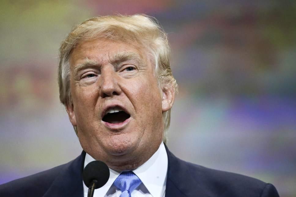 Donald Trump speaks at the National Rifle Association convention Friday, April 10, 2015, in Nashville, Tenn. (AP Photo/Mark Humphrey)