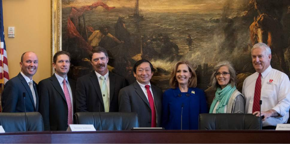 Rick Egan  |  The Salt Lake Tribune  Lt. Gov. Spencer Cox poses for a photo with Utah's six electors, Jeremy Jenkins, Peter Greathouse, Chia Chi-Teng, Cherilyn Eagar, Kris Kimball, and Richard Snelgrove, before they placed their electoral votes at the Utah State Capitol, Monday, December 19, 2016.