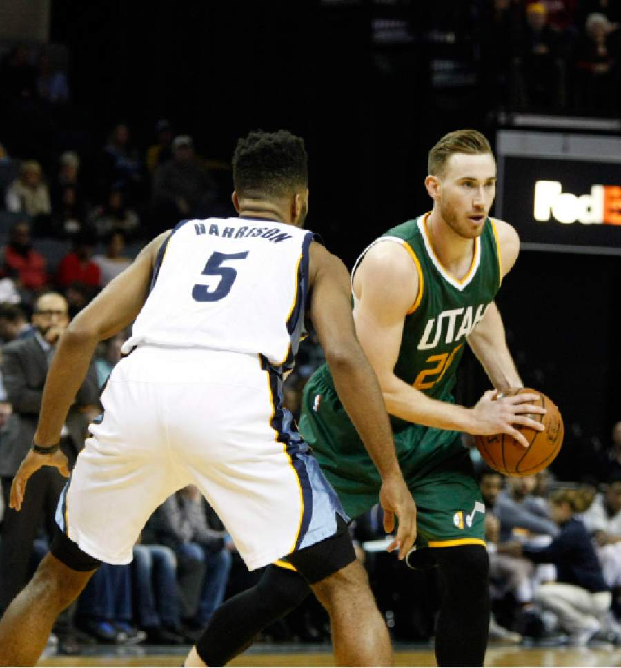 Utah Jazz' Gordon Hayward (20), looks for an opening in the second half of an NBA basketball game against the Memphis Grizzlies Sunday, Dec. 18, 2016, in Memphis, Tenn. (AP Photo/Karen Pulfer Focht)