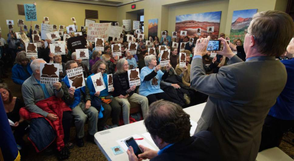 Steve Griffin  |  The Salt Lake Tribune Pro- Bears Ears National Monument supporters hold up their Bears Ears signs during press conference at the Utah State Capitol Preservation Room in Salt Lake City Monday December 19, 2016.  Speakers included Chairman Shaun Chapoose, Ute Indian Tribe of the Uinta Ouray Reservation, Delegate Davis Filfred, Navajo Nation Council and Malcolm Lehi, former White Mesa representative of the Ute Mountain Ute Tribal Council.