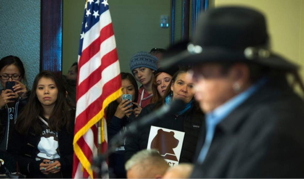 Steve Griffin / The Salt Lake Tribune   Pro- Bears Ears National Monument supporters listen to Ute Business Committee Chairman Shaun Chapoose, during press conference at the Utah State Capitol Preservation Room in Salt Lake City Monday December 19, 2016.  Speakers included Chapoose, Delegate Davis Filfred, Navajo Nation Council and Malcolm Lehi, former White Mesa representative of the Ute Mountain Ute Tribal Council.