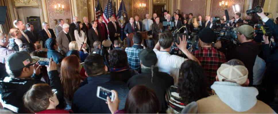 Steve Griffin / The Salt Lake Tribune   Utah elected officials gather in the Gold Room at the Utah State Capitola for t a press conference were the leaders urged President Obama to not designate Bears Ears as a national monument in Salt Lake City Monday December 19, 2016.
