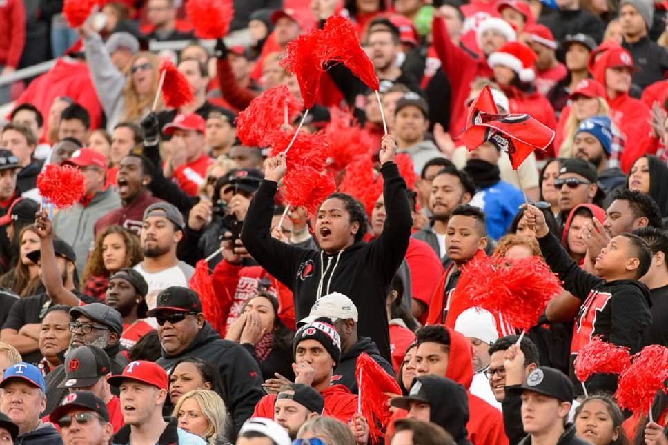 Trent Nelson     The Salt Lake Tribune Utah fans cheer in the fourth quarter as Utah faces BYU in the Royal Purple Las Vegas Bowl, NCAA football at Sam Boyd Stadium in Las Vegas, Saturday December 19, 2015.