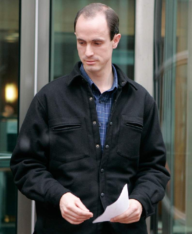 Seth Steed Jeffs, 32, of Hildale, Utah, leaves the federal courthouse in Denver, on Thursday, Nov. 17, 2005, after entering a plea of not guilty on charges of concealing his brother, fugitive polygamist sect leader Warren Steed Jeffs. (AP Photo/Ed Andrieski)