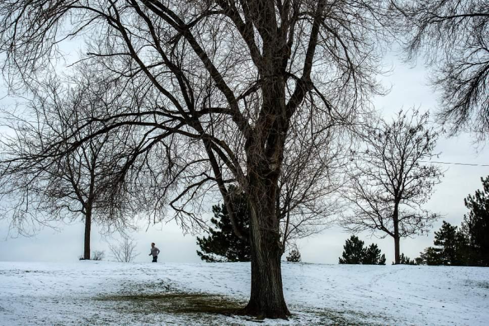 Chris Detrick  |  The Salt Lake Tribune A man runs around Sugar House Park Wednesday December 21, 2016.