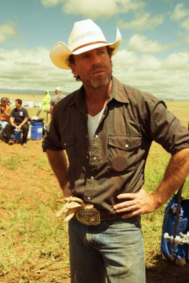 "Screenwriter Taylor Sheridan on the set of the Texas-based crime drama ""Hell or High Water."" Lorey Sebastian  |  CBS Films"