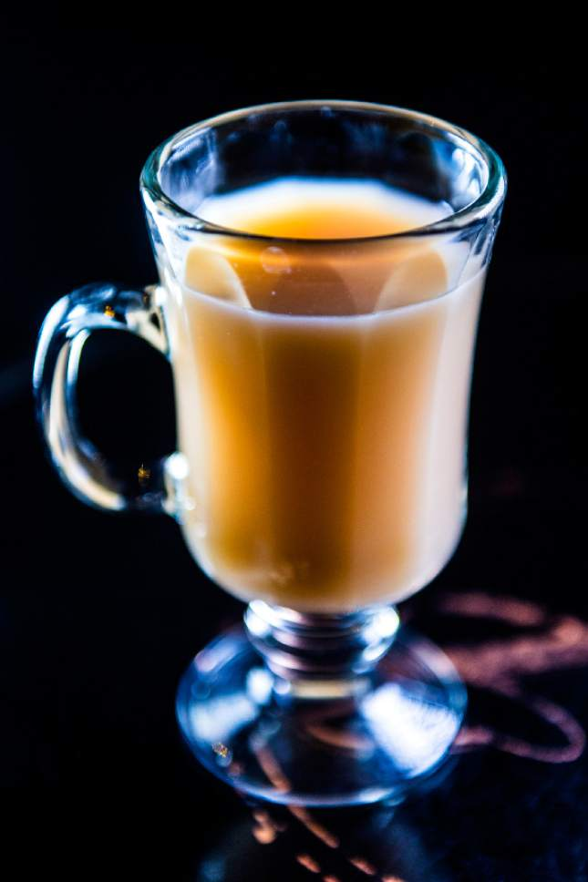 "Chris Detrick  |  The Salt Lake Tribune The ""Mersey Fog"" cocktail at Copper Common in Salt Lake City on Friday, Dec. 16, 2016.  The drink ($9) is made with Earl Grey tea, gin, agave and vanilla-flavored almond milk."