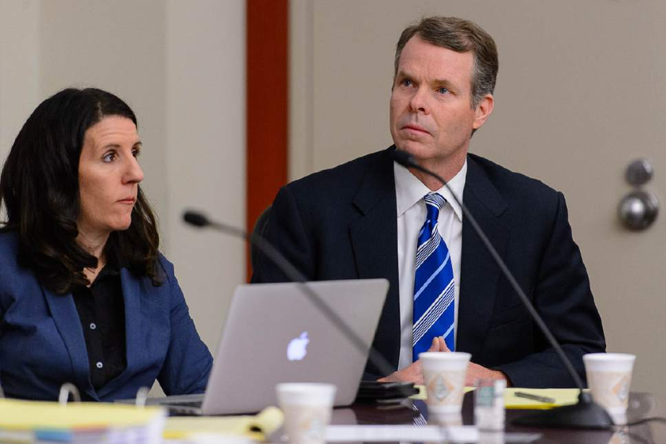 Trent Nelson  |  The Salt Lake Tribune Former Utah Attorney General John Swallow, charged with bribery and public corruption, at a motion hearing in Salt Lake City, Friday December 9, 2016. At left is defense attorney Cara Tangaro.
