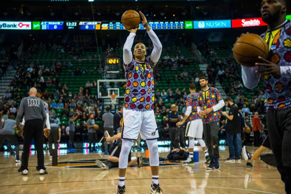Chris Detrick  |  The Salt Lake Tribune Utah Jazz guard Dante Exum (11) warms up during the game at Vivint Smart Home Arena Friday December 16, 2016.