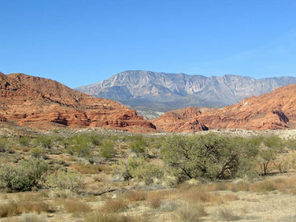 Pine Valley Mountains behind Red Cliffs near Leeds, Utah. (Tom Wharton Photo)