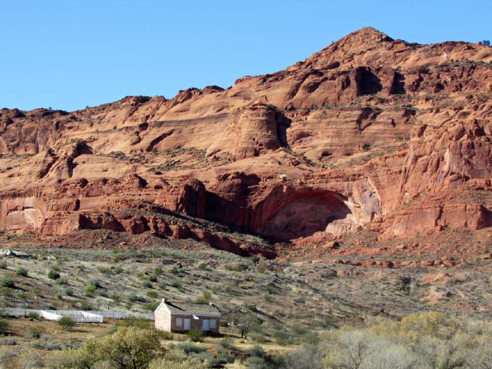 Orson Adams House is a restored pioneer dwelling near Red Cliffs campground. (Tom Wharton Photo)