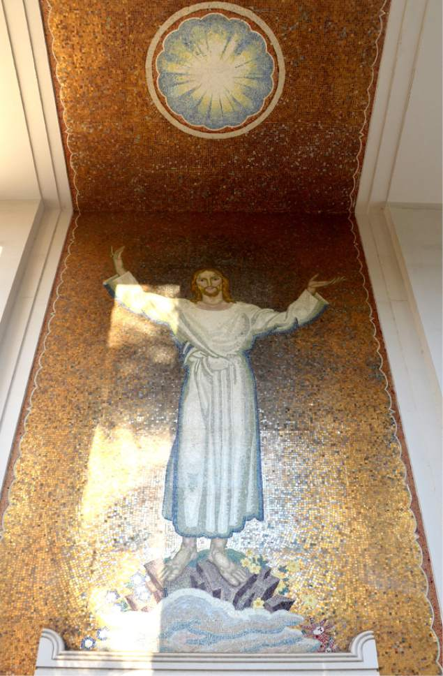 Michael Stack  |  Courtesy  Giant mosaic of Jesus on the exterior of the Honolulu tabernacle.