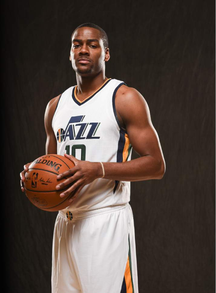 Francisco Kjolseth | The Salt Lake Tribune Alec Burks joins teammates as the Utah Jazz opens training camp with media day for players at the team's training facility in Salt Lake on Monday, Sept. 26, 2016.