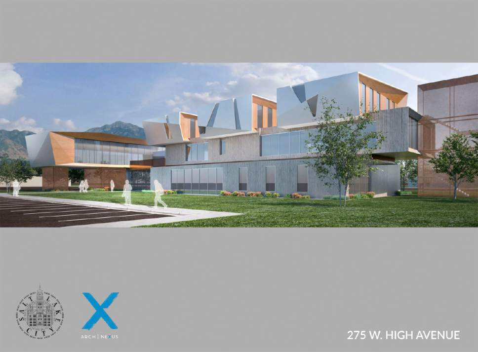 Courtesy  |  Salt Lake City Mayor's Office  An artist's hypothetical rendering of the homeless resource facility proposed for 275 West High Avenue (1400 So.) in Salt Lake City.