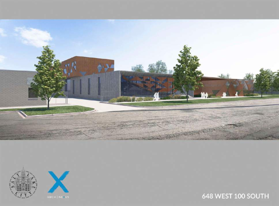 Courtesy  |  Salt Lake City Mayor's Office  An artist's hypothetical rendering of the homeless resource facility proposed for 648 West 100 South in Salt Lake City.