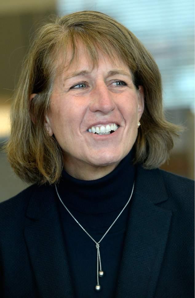 Al Hartmann  |  The Salt Lake Tribune Incoming USU President Noelle Cockett speaks with Salt Lake Tribune's editorial board Tuesday Dec. 13.