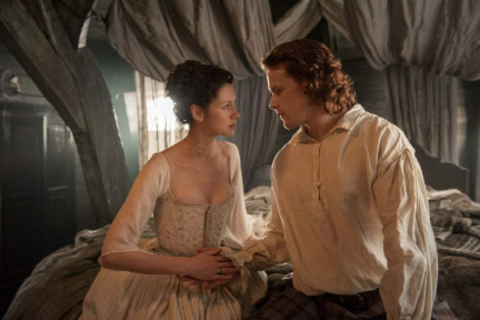 "Caitrona Balfe ad Claire and Sam Heughan as Jamie in ""Outlander."" Courtesy Starz"