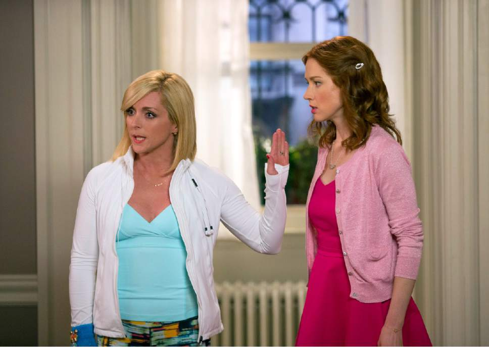 "In this image released by Netflix, Jane Krakowski, left, and Ellie Kemper appear in a scene from ""Unbreakable Kimmy Schmidt,"" an original series on Netflix. (AP Photo/Netflix)"
