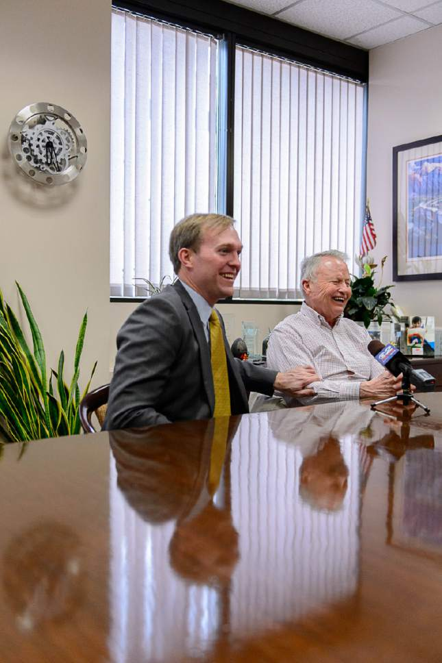 Trent Nelson  |  The Salt Lake Tribune Salt Lake County Mayor Ben McAdams and Pat King talk about King's donation of $4 million to help build one of four new homeless shelters to be named after his mother Geraldine E. King. Salt Lake City, Friday December 23, 2016.