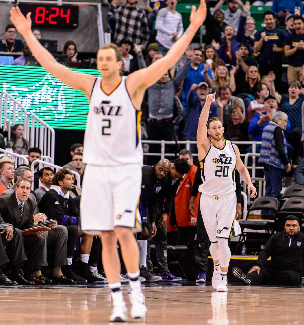 Trent Nelson  |  The Salt Lake Tribune Utah Jazz forward Joe Ingles (2) and Utah Jazz forward Gordon Hayward (20) celebrate a Hayward three-pointer that brought the lead to twenty as the Utah Jazz host the Sacramento Kings at Vivint Smart Home Arena in Salt Lake City, Wednesday December 21, 2016.
