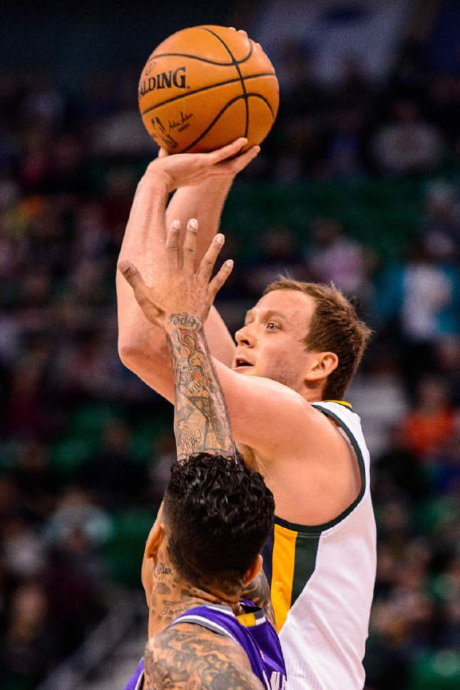 Trent Nelson  |  The Salt Lake Tribune Utah Jazz forward Joe Ingles (2) puts up a shot as the Utah Jazz host the Sacramento Kings at Vivint Smart Home Arena in Salt Lake City, Wednesday December 21, 2016.