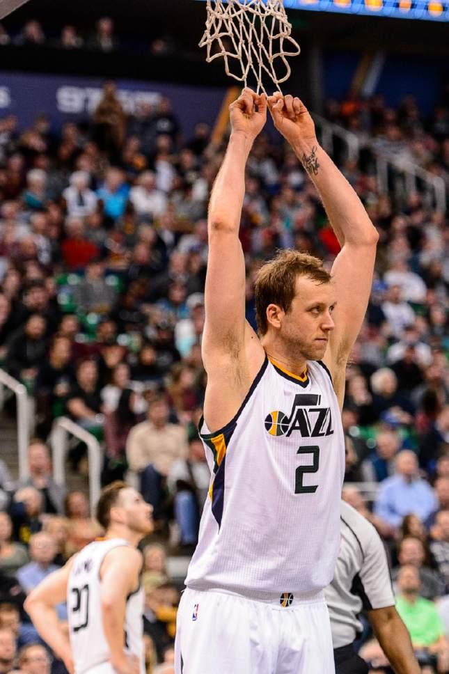 Trent Nelson  |  The Salt Lake Tribune Utah Jazz forward Joe Ingles (2) reacts to a foul call in the final minute as the Utah Jazz host the Sacramento Kings at Vivint Smart Home Arena in Salt Lake City, Wednesday December 21, 2016.