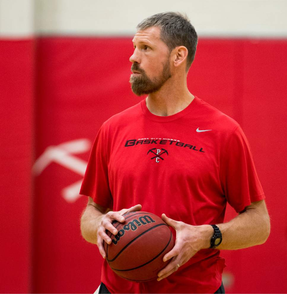 Rick Egan  |  The Salt Lake Tribune  Mike Doleac, former Ute basketball star and NBA veteran, runs basketball practice in his first season as Park City's head coach, Monday, December 19, 2016.