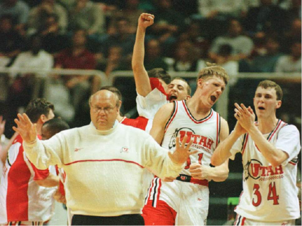 Utah Coach Majerus and bench (from right: Drew Hansen, Michael Doleac, ??, Rick Majerus)