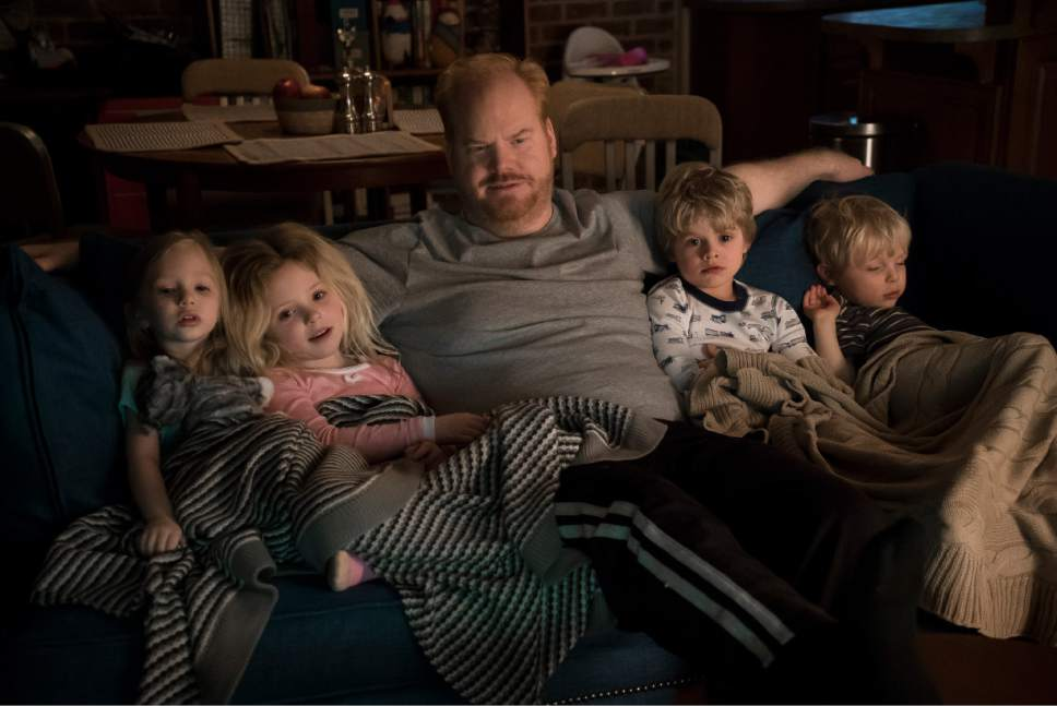 """Jim (Jim Gaffigan) spends a night in with the kids after a long day in """"The Jim Gaffigan Show."""" Courtesy  