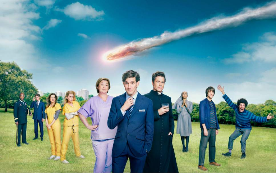 """""""You, Me and the Apocalypse"""" stars Paterson Joseph as General Arnold Gaines, Kyle Soller as Scotty, Jenna Fischer as Rhonda McNeil, Megan Mullally as Leanne, Pauline Quirke as Paula Winton, Matthew Baynton as Jamie Winton, Rob Lowe as Father Jude Sutton, Gaia Scodellaro as Sister Celine Leonti, Matthew Baynton as Ariel Conroy and Joel Fry as Dave Bosley.  Photo by: Guy Levy/WTTV Productions Limited"""