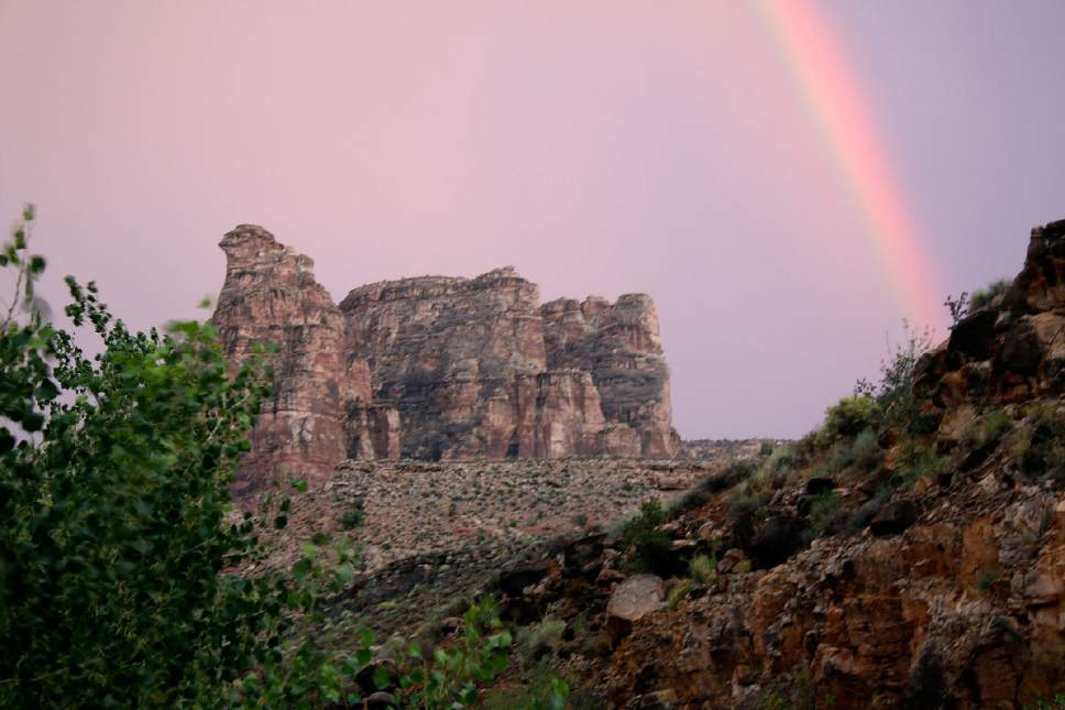 Al Hartmann  |  The Salt Lake Tribune  Rainbow forms at the end of the day in Dark Canyon Wilderness in San Juan County.  The area is included for a proposed Bears Ears National Monument.