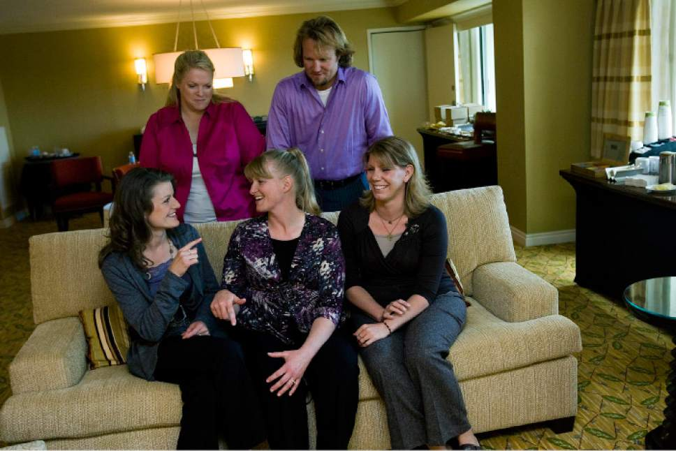 |  Tribune File Photo  Left to right: Kody Brown and his four wives, Janelle Brown, top, Robyn  Brown, Christine Brown and Meri Brown, pose for a portrait at the Downtown Mariott in Salt Lake City, on Friday, Sept. 24, 2010.  The family are the main focus of a TLC reality show.