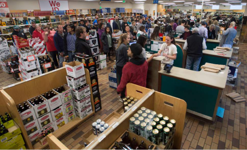 Steve Griffin  |  The Salt Lake Tribune Thanksgiving shoppers form lines at the Sugar House liquor store in Salt Lake City. The Friday before Christmas eclipsed the Wednesday before Thanksgiving as the all-time record for liquor sales in Utah.