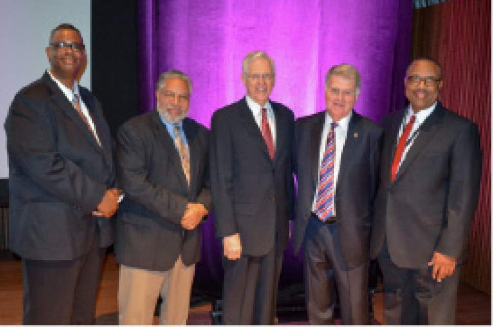 photo courtesy LDS Church  (From left to right) Thom Reed, FamilySearch product manager; Lonnie G. Bunch III, Founding Director of the National Museum of African American History and Culture; D. Todd Christofferson, Quorum of the Twelve Apostles of The Church of Jesus Christ of Latter-day Saints; David Ferriero, United States Archivist; Rex M. Ellis, associate director for Curatorial Affairs of the National Museum of African American History and Culture.