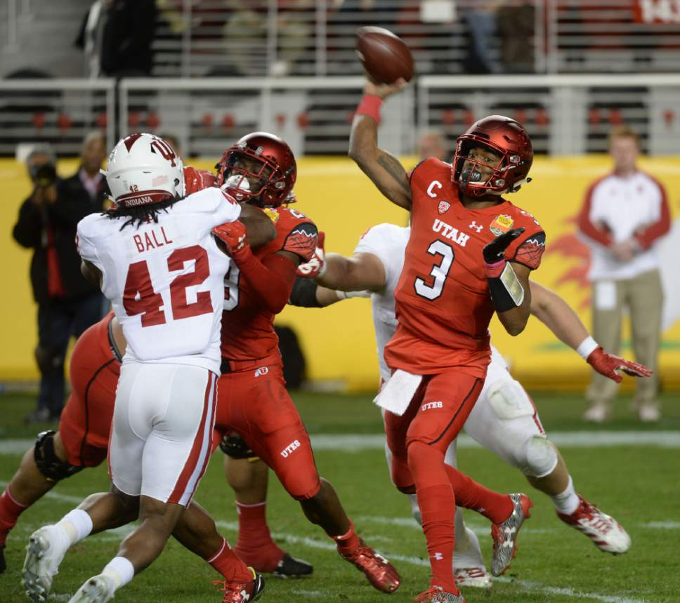 Steve Griffin / The Salt Lake Tribune  Utah Utes quarterback Troy Williams fires a pass downfield during the Foster Farms Bowl at Levi's Stadium in Santa Clara California  Wednesday December 28, 2016.