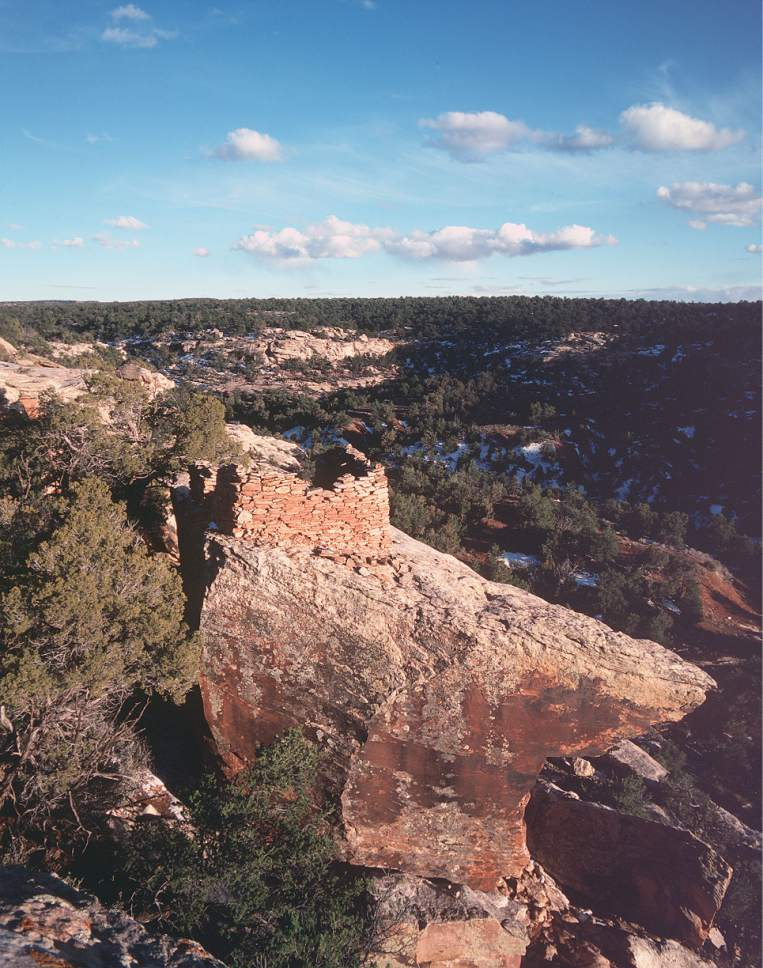 Al Hartmann  |  Tribune file photo An Anasazi tower ruin perches on the rim of a sandstone canyon in the Cedar Mesa area in San Juan County.  The mesa is part of the  Bears Ears National Monument.