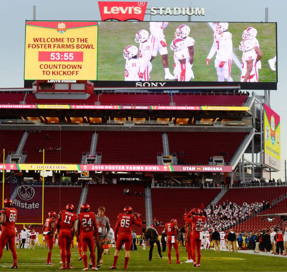 Steve Griffin / The Salt Lake Tribune  The Utah Utes and Indiana Hoosiers  warm up prior to the start of the Foster Farms Bowl at Levi's Stadium in Santa Clara California  Wednesday December 28, 2016.