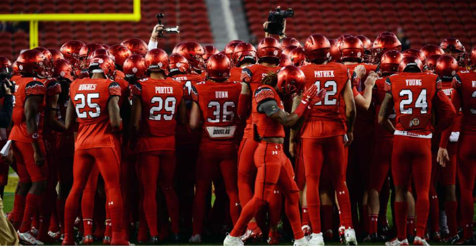 Steve Griffin / The Salt Lake Tribune  The Utah Utes huddle up prior to the start of the Foster Farms Bowl at Levi's Stadium in Santa Clara California  Wednesday December 28, 2016.