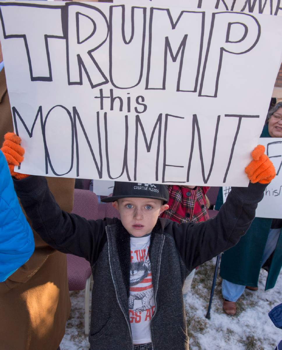 Rick Egan  |  The Salt Lake Tribune  Kids of all ages showed up to protest the new Bears Ears Monument in Monticello, Thursday, December 29, 2016.