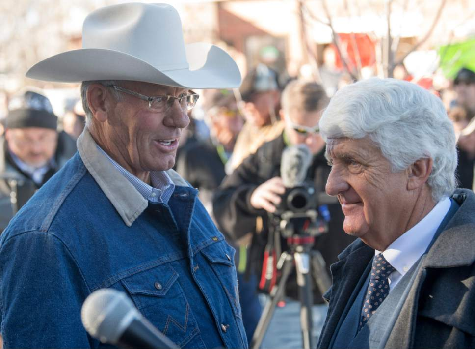 Rick Egan  |  The Salt Lake Tribune  San Juan County Commissioner, Bruce Adams talks with Rob Bishop as they hold a press conference in reaction to the new Bears Ear Monument in Monticello, Thursday, December 29, 2016.