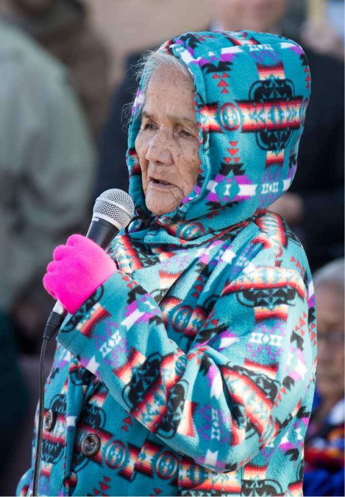 Rick Egan     The Salt Lake Tribune  Betty Jones speaks during a protest of the new Bears Ears Monument in Monticello, Thursday, December 29, 2016.
