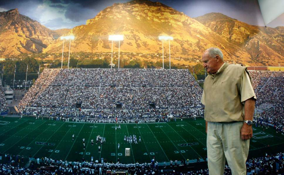 Francisco Kjolseth  |  The Salt Lake Tribune  Legendary BYU football coach LaVell Edwards, who retired from coaching 10 years ago is seen before a wall mural photograph of the stadium that was named in his honor during a stop at the BYU Student Athlete Building on the BYU campus on Tuesday, May 18, 2010.