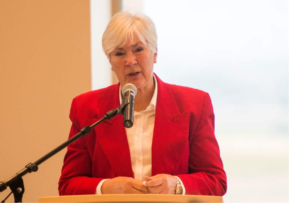 Rick Egan  |  The Salt Lake Tribune  Gail Miller speaks at the ribbon-cutting ceremony for Sunrise Hall, a newly constructed worship center at Camp Williams. Friday, August 7, 2015.