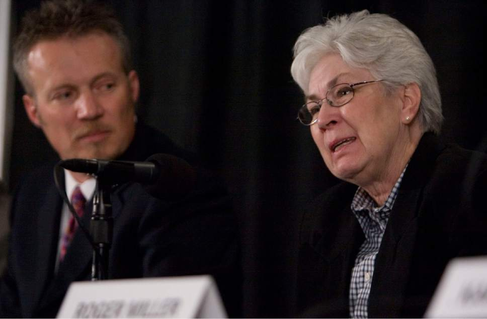 Larry Miller's son Greg Miller and Larry's wife Gail Miller address the media during a press conference Friday, February 20, 2009 at the Utah Jazz practice facility in Salt Lake City. Larry H. Miller passed away Friday from complications from Type 2 Diabetes. Jim Urquhart/The Salt Lake Tribune; 2/20/09