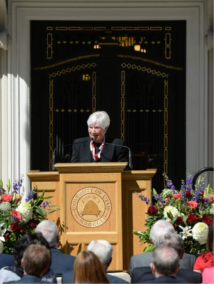 Francisco Kjolseth | The Salt Lake Tribune Gail Miller of the Larry H. Miller Group speaks at the unveiling of the University of Utah's newly refurbished Enos A. Wall Mansion with a new name on Wed. Aug. 24, 2016, as the Thomas S. Monson Center after the current president of the Church of Jesus Christ of Latter-day Saints. The mansion becomes the home of the Kem C. Gardner Policy Institute.