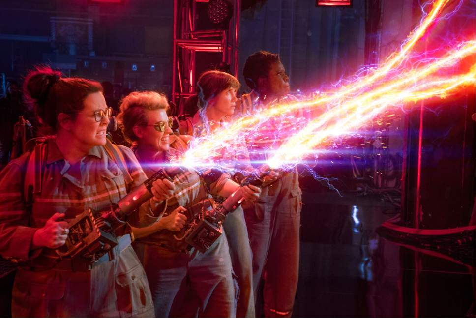 "In this image released by Sony Pictures, from left, Melissa McCarthy, Kate McKinnon, Kristen Wiig and Leslie Jones appear in a scene from, ""Ghostbusters."" (Sony Pictures via AP)"