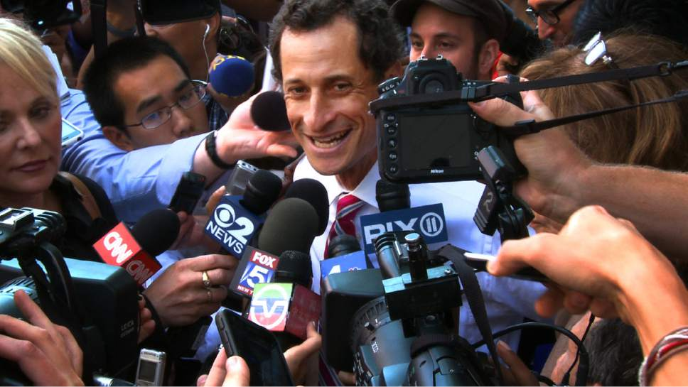 "This image released by IFC Films shows Anthony Weiner in a scene from the documentary, ""Weiner."" (IFC Films via AP)"