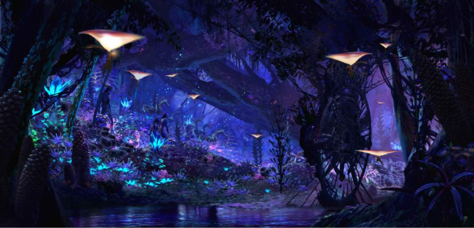"This undated image provided by Walt Disney World in Lake Buena Vista, Fla., shows a rendering of a water ride attraction, Na'vi River Journey, that will be part of a new land at Animal Kingdom called Pandora - The World of AVATAR. Pandora is scheduled to open next summer. It's themed on the movie ""Avatar."" (Walt Disney World via AP)"
