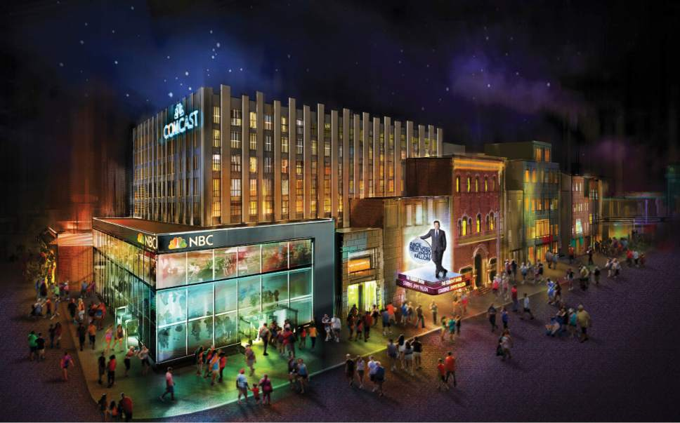 This undated image provided by Universal Orlando Resort in Orland, Fla., shows a rendering of a new attraction called Race Through New York Starring Jimmy Fallon. The new attraction is themed on a wild ride through New York City racing against the TV host. It is scheduled to open at the theme park in 2017. (NBCUniversal via AP)